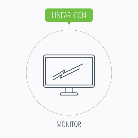 led display: PC monitor icon. Led TV sign. Widescreen display symbol. Linear outline circle button. Vector Illustration
