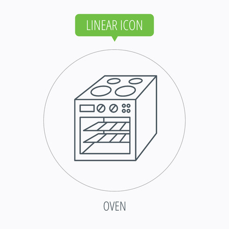 electric stove: Oven icon. Electric stove sign. Linear outline circle button. Vector Illustration