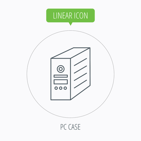 pc case: Computer server icon. PC case or tower sign. Linear outline circle button. Vector Illustration