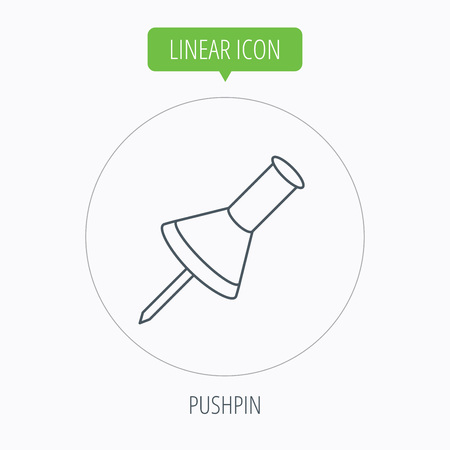 office stationery: Pushpin icon. Pin tool sign. Office stationery symbol. Linear outline circle button. Vector