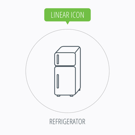 frig: Refrigerator icon. Fridge sign. Linear outline circle button. Vector