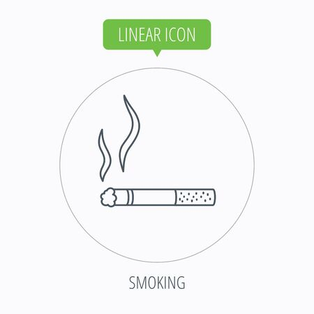 cigar shape: Smoking allowed icon. Yes smoke sign. Linear outline circle button. Vector
