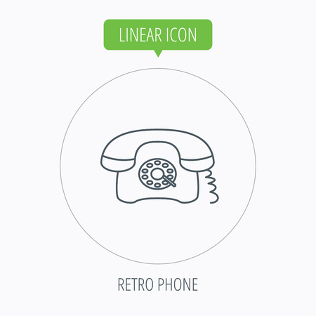 old phone: Retro phone icon. Old telephone sign. Linear outline circle button. Vector