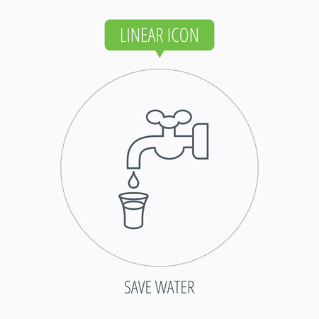 waterworks: Save water icon. Crane or Faucet with drop sign. Linear outline circle button. Vector Illustration