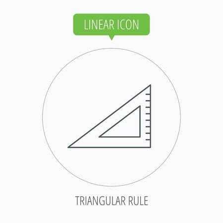 straightedge: Triangular ruler icon. Straightedge sign. Geometric symbol. Linear outline circle button. Vector