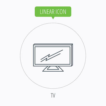 led display: Lcd tv icon. Led monitor sign. Widescreen display symbol. Linear outline circle button. Vector