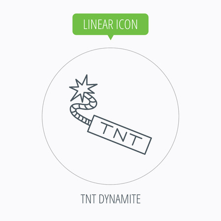 detonator: TNT dynamite icon. Bomb explosion sign. Linear outline circle button. Vector