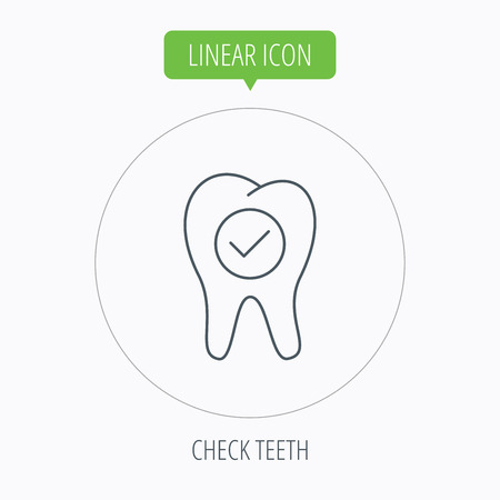 stomatology: Check tooth icon. Stomatology sign. Dental care symbol. Linear outline circle button. Vector Illustration