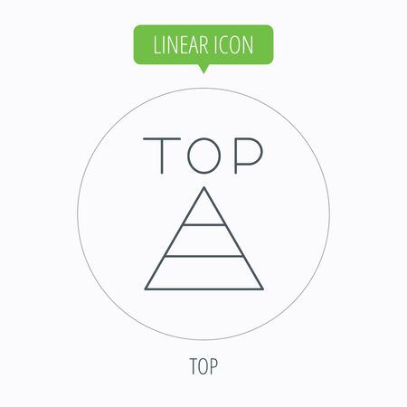 best result: Triangle icon. Top or best result sign. Success symbol. Linear outline circle button. Vector