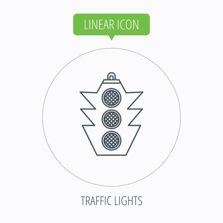 regulate: Traffic light icon. Safety direction regulate sign. Linear outline circle button. Vector