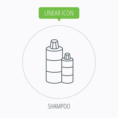 shampoo bottles: Shampoo bottles icon. Liquid soap sign. Linear outline circle button. Vector