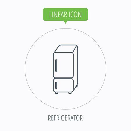Refrigerator icon. Fridge sign. Linear outline circle button. Vector