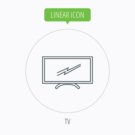 lcd display: Lcd tv icon. Led monitor sign. Widescreen display symbol. Linear outline circle button. Vector