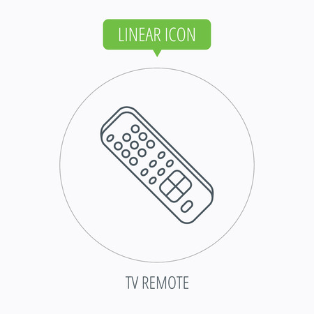 channels: Remote control icon. TV switching channels sign. Linear outline circle button. Vector