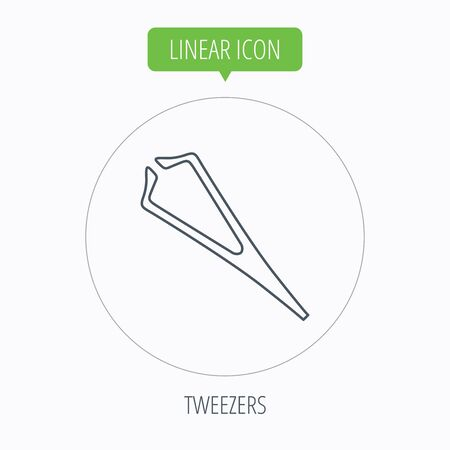 tweezer: Medical tweezers icon. Cosmetic equipment sign. Linear outline circle button. Vector