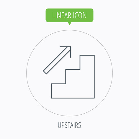 upstairs: Upstairs icon. Direction arrow sign. Linear outline circle button. Vector