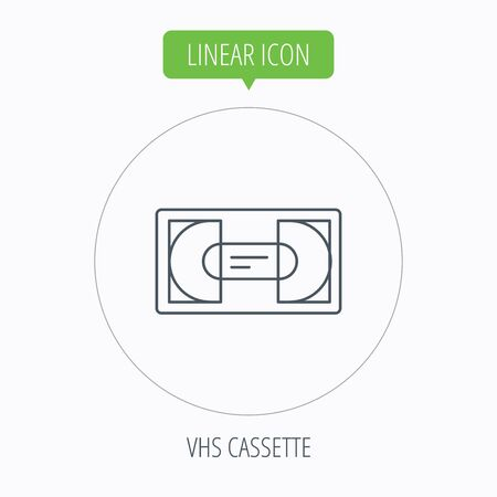 video cassette tape: Video cassette icon. VHS tape sign. Linear outline circle button. Vector
