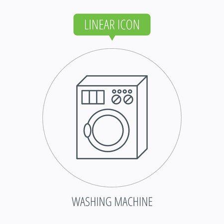 washer machine: Washing machine icon. Washer sign. Linear outline circle button. Vector