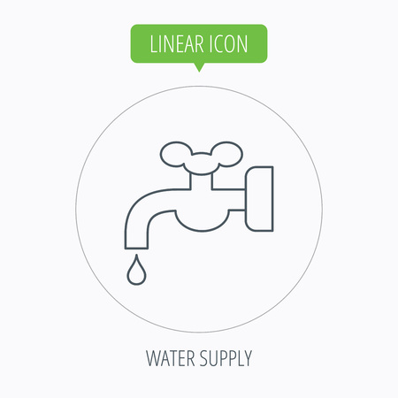 waterworks: Water supply icon. Crane or Faucet with drop sign. Linear outline circle button. Vector