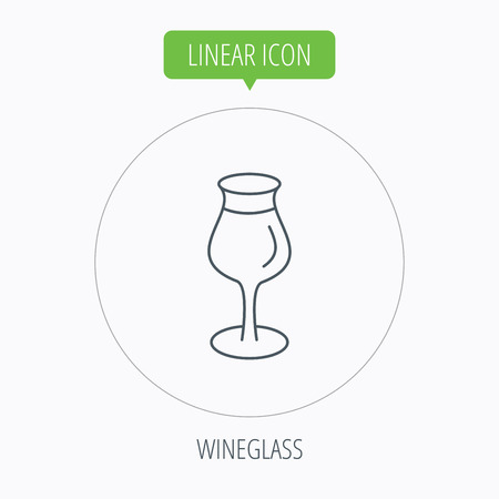 Wine glass icon. Goblet sign. Alcohol drink symbol. Linear outline circle button. Vector Illustration