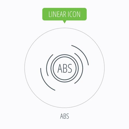 abs: ABS icon. Brakes antilock system sign. Linear outline circle button. Vector Illustration