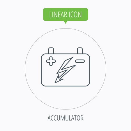 emitter: Accumulator icon. Electrical battery sign. Linear outline circle button. Vector