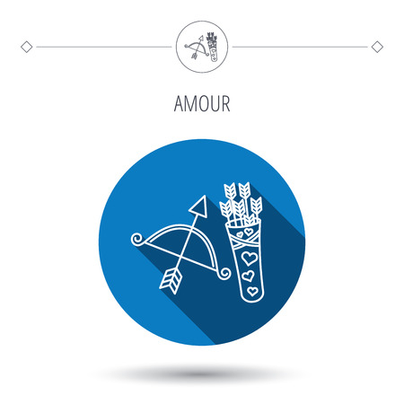 amour: Amour arrows and bow icon. Valentine weapon sign. Blue flat circle button. Linear icon with shadow. Vector Illustration