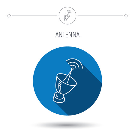 sputnik: Antenna icon. Sputnik satellite sign. Radio signal symbol. Blue flat circle button. Linear icon with shadow. Vector