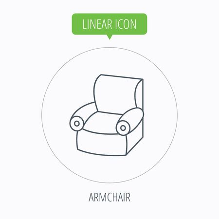 comfortable: Armchair icon. Comfortable furniture sign. Linear outline circle button. Vector Illustration