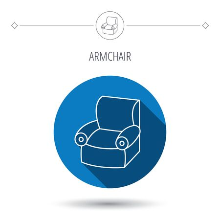comfortable: Armchair icon. Comfortable furniture sign. Blue flat circle button. Linear icon with shadow. Vector