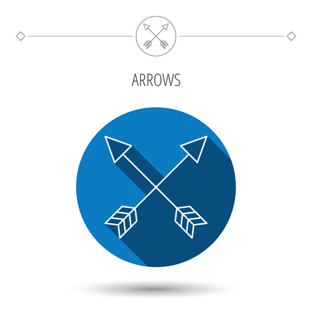 darts flying: Bow arrows icon. Hunting sport equipment sign. Archer weapon symbol. Blue flat circle button. Linear icon with shadow. Vector