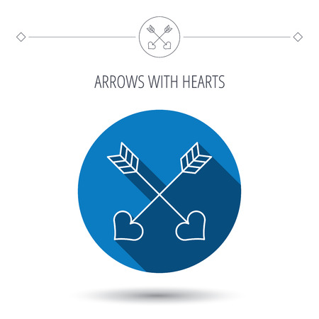 darts flying: Love arrows icon. Amour equipment sign. Archer weapon with hearts symbol. Blue flat circle button. Linear icon with shadow. Vector Illustration