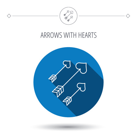 longbow: Love arrows icon. Amour equipment sign. Archer weapon with hearts symbol. Blue flat circle button. Linear icon with shadow. Vector Illustration