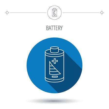 rechargeable: Battery icon. Electrical power sign. Rechargeable energy symbol. Blue flat circle button. Linear icon with shadow. Vector Illustration