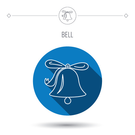 handbell: Ringing jingle bell icon. Sound sign. Alarm handbell symbol. Blue flat circle button. Linear icon with shadow. Vector