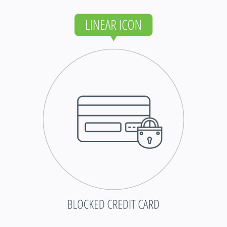 accounting logo: Blocked credit card icon. Shopping sign. Linear outline circle button. Vector