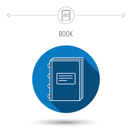 blue book: Book icon. Education sign. Blue flat circle button. Linear icon with shadow. Vector