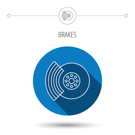 overhaul: Brakes icon. Auto disk repair sign. Blue flat circle button. Linear icon with shadow. Vector