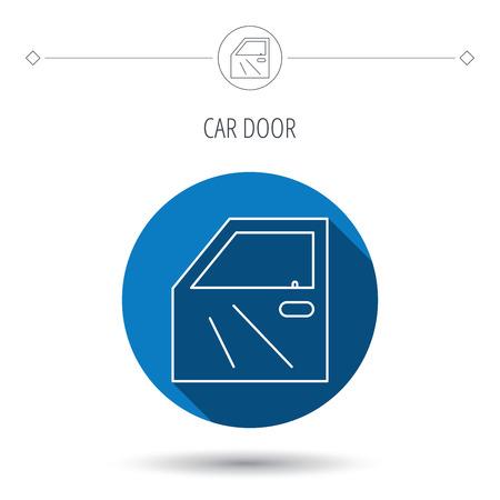 automobile door: Car door icon. Automobile lock sign. Blue flat circle button. Linear icon with shadow. Vector