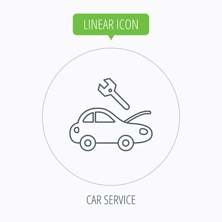 overhaul: Icona del servizio Car. Riparazione di trasporto con la chiave la chiave segno. Pulsante Lineare contorno cerchio. Vettore