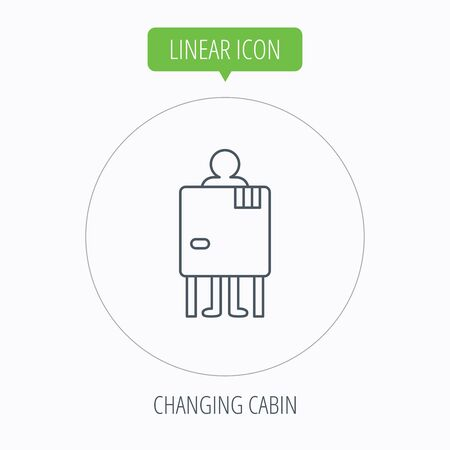 changing: Beach changing cabin icon. Human symbol. Linear outline circle button. Vector Illustration