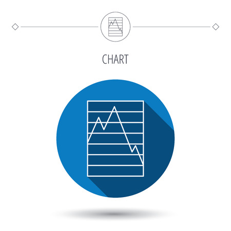 demand: Chart curve icon. Graph diagram sign. Demand reduction symbol. Blue flat circle button. Linear icon with shadow. Vector