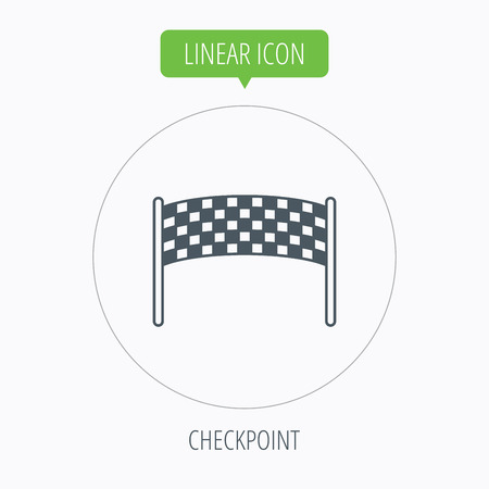 checkpoint: Finishing checkpoint icon. Marathon banner sign. Linear outline circle button. Vector