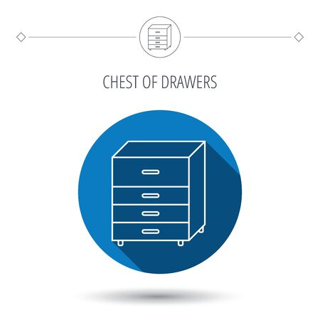 commode: Chest of drawers icon. Interior commode sign. Blue flat circle button. Linear icon with shadow. Vector Illustration