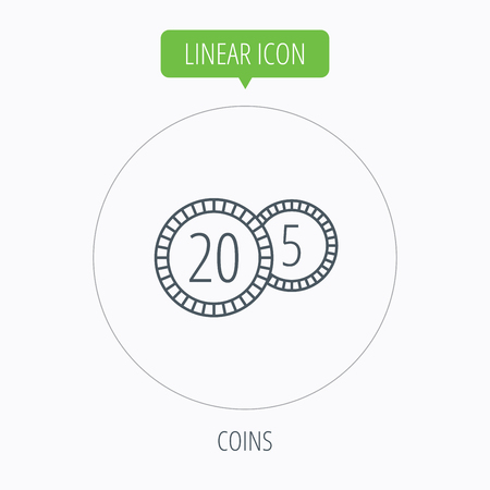 five cents: Coins icon. Cash money sign. Bank finance symbol. Twenty and five cents. Linear outline circle button. Vector