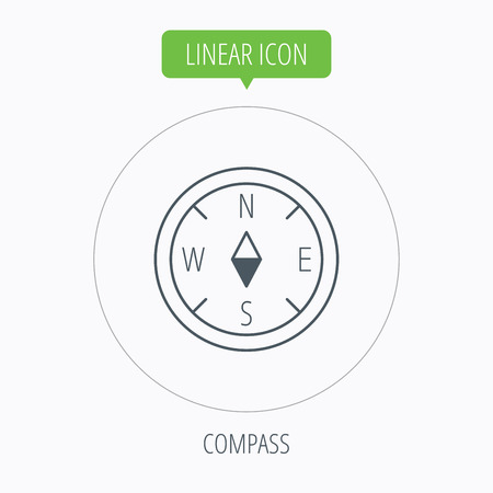 geographical: Compass navigation icon. Geographical orientation sign Linear outline circle button. Vector Illustration