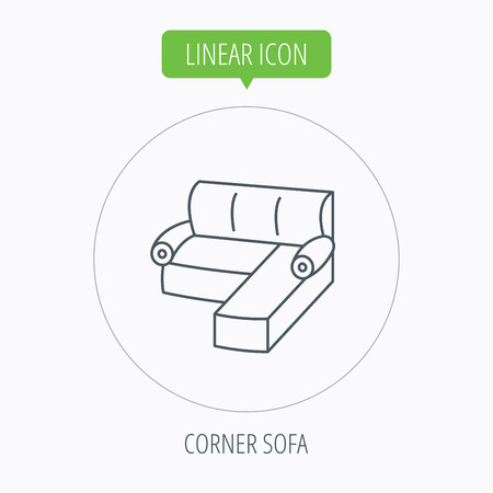 comfortable: Corner sofa icon. Comfortable couch sign. Furniture symbol. Linear outline circle button. Vector
