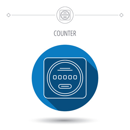 kilowatt: Electricity power counter icon. Measurement sign. Blue flat circle button. Linear icon with shadow. Vector Illustration