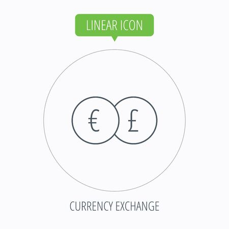 pound symbol: Currency exchange icon. Banking transfer sign. Euro to Pound symbol. Linear outline circle button. Vector