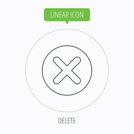 delete icon: Delete icon. Decline or Remove sign. Cancel symbol. Linear outline circle button. Vector Illustration